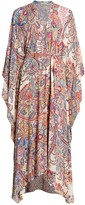 Etro Allover Paisley Silk-Blend Belted Caftan