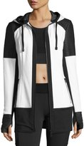 Blanc Noir Nighthawk Quilted-Panel Long-Line Hoodie, White/Black