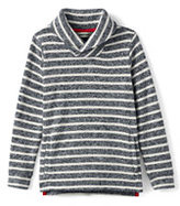 Lands' End Little Boys Stripe Shawl Collar Pull Over-Gray Marl/Ivory Stripe