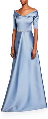Rickie Freeman For Teri Jon Off-the-Shoulder Elbow-Sleeve Stretch Gazar Gown w/ Beaded Waist