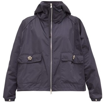 Moncler Acier Technical Gabardine Hooded Jacket - Navy