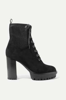 Gianvito Rossi 100 Lace-up Ribbed Leather-paneled Suede Ankle Boots - Black