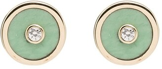 Retrouvai Mini Compass 14kt gold diamond earrings