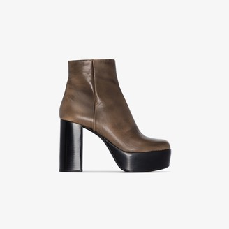 Miu Miu Brown 110 Leather Platform Ankle Boots