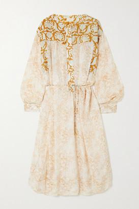 HANNAH ARTWEAR Net Sustain Marigold Paneled Printed Silk Midi Shirt Dress