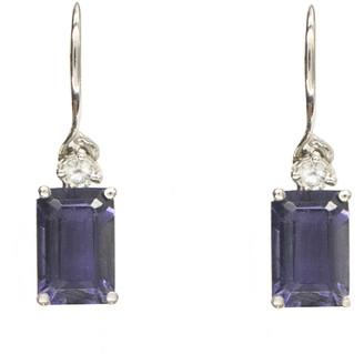 Suzanne Kalan Emerald Cut Iolite and Diamond Dangle Earrings - White Gold