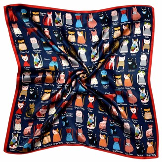 Bees Knees Fashion Red Navy Cats Print Small Thick Silk Square Scarf