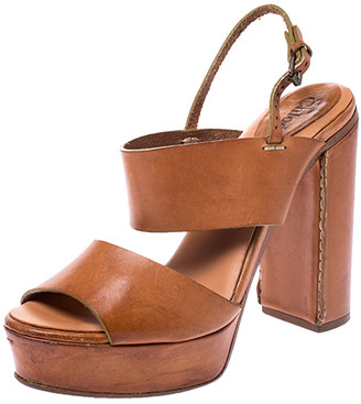 Chloé Tan Leather Platform Ankle Strap Block Heel Sandals Size 39.5