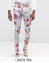 Asos Tall Super Skinny Smart Pants In Pink Floral Print