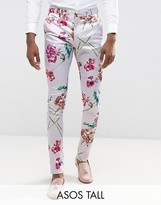 Asos Tall Super Skinny Smart Trousers In Pink Floral Print