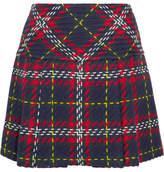 Miu Miu Pleated Tartan Wool-tweed Mini Skirt - Navy