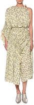 Marni One-Shoulder Floral-Print Midi Dress, Light Yellow