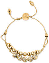 GUESS Gold-Tone Pave Beaded Double-Row Slider Bracelet