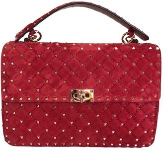 Valentino Rockstud spike Red Suede Handbags