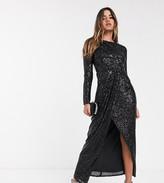TFNC sequin maxi wrap dress in black
