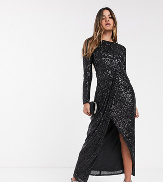 TFNC sequin maxi wrap dress in black