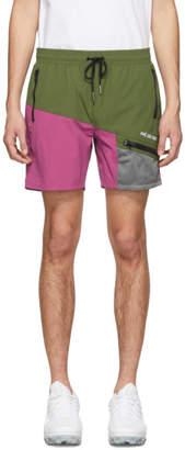 Leon Aime Dore Green Logo Zippered Pocket Shorts