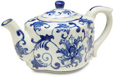 One Kings Lane Decorative Floral Teapot - blue/white