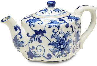 One Kings Lane Decorative Floral Teapot - blue/white