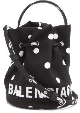 Balenciaga Wheel Xs Polka-dot Canvas Bucket Bag - Black White