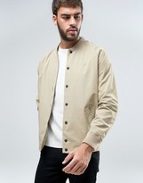 Farah Bellinger Nylon Bomber Jacket in Beige