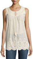 Neiman Marcus Lace-Trim Sleeveless Top, Ivory