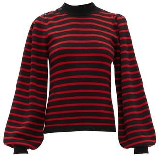 Ganni Balloon-sleeved Striped Sweater - Womens - Black Multi