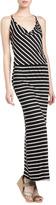 Fraiche by J Striped V-Back Maxi Dress, Black/White