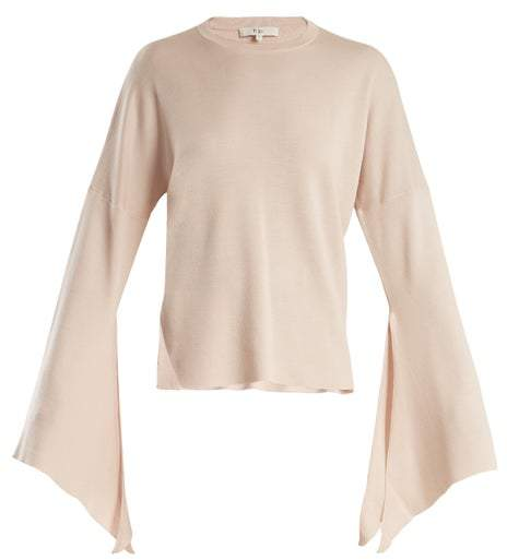 Tibi Slit Side Wool Blend Knit Sweater - Womens - Nude
