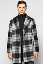 boohoo Smart Check Woollike Over Coat