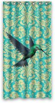 """Damask shower curtain 36"""" x 72"""" Creative Home Ideas Vintage Teal Turquoise Damask Pattern With Hummingbird Art Print Fabric Shower Curtain with Hook"""