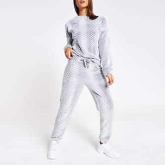 River Island Womens Grey herringbone velour pyjama trousers