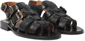 Dries Van Noten Woven Full-Grain Leather Sandals
