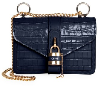 Chloé Medium Aby Croc-Embossed Leather Shoulder Bag