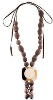 Marni Large Resin Pendant & Fabric Bead Necklace