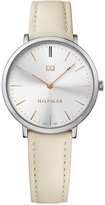 Tommy Hilfiger Women's Slim Sophisticated Sport Cream Leather Strap Watch 35mm 1781691