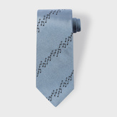 Paul Smith Men's Sky Blue Musical Notes Stripe Silk Tie