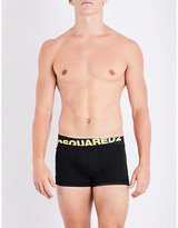 DSQUARED2 Mens Black Square Neon Logo Stretch-Cotton Trunks