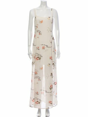 Reformation Floral Print Long Dress w/ Tags White