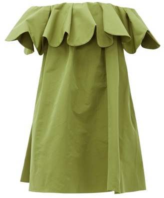 Valentino Off-the-shoulder Cotton-blend Faille Mini Dress - Womens - Green