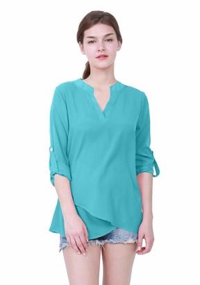 OMZIN Women's Shirt Deep V Neck Spring and Summer Shirts for Women Light Chiffon Shirt Elegant ShirtBlueS
