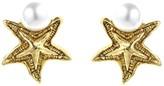 Oscar de la Renta Pavé Sea Star Pearl Button Earrings
