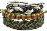 Tag Twenty Two 4 Pack Olive Tibetan Bracelet Set with Leather, Alloy, and Wood