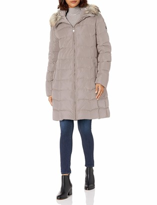 Calvin Klein womens Quilted Faux Fur Trim Hooded Puffer Coat Purple S