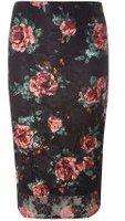 Dorothy Perkins Womens Black Rose Lace Pencil Skirt- Black
