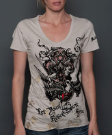 Rebel Spirit Tan 'Let Pour' Fleur-de-Lis V-Neck Tee - Women