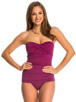 Tommy Bahama Pearl Solids Shirred Twist Front Bandeau One Piece Swimsuit 8140868