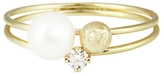 Sweet Pea Diamond, Pearl and Gold Bead Stacking Ring