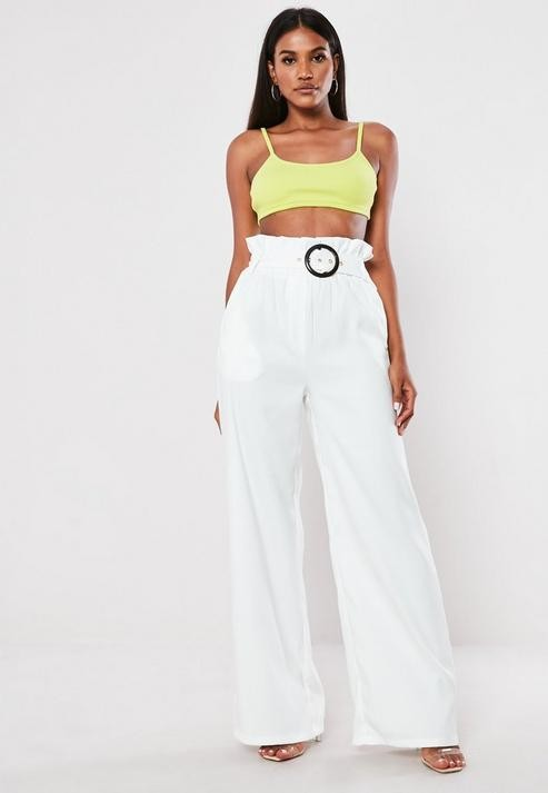 Missguided White Co Ord Tortoise Buckle Wide Leg Pants