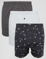 Asos Jersey Boxers In Monochrome With Leopard Print 3 Pack Save